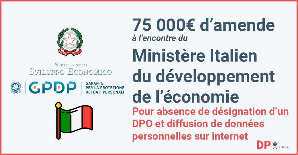 75 000 euros d'amende à l'encontre du Ministère du développement économique Italien