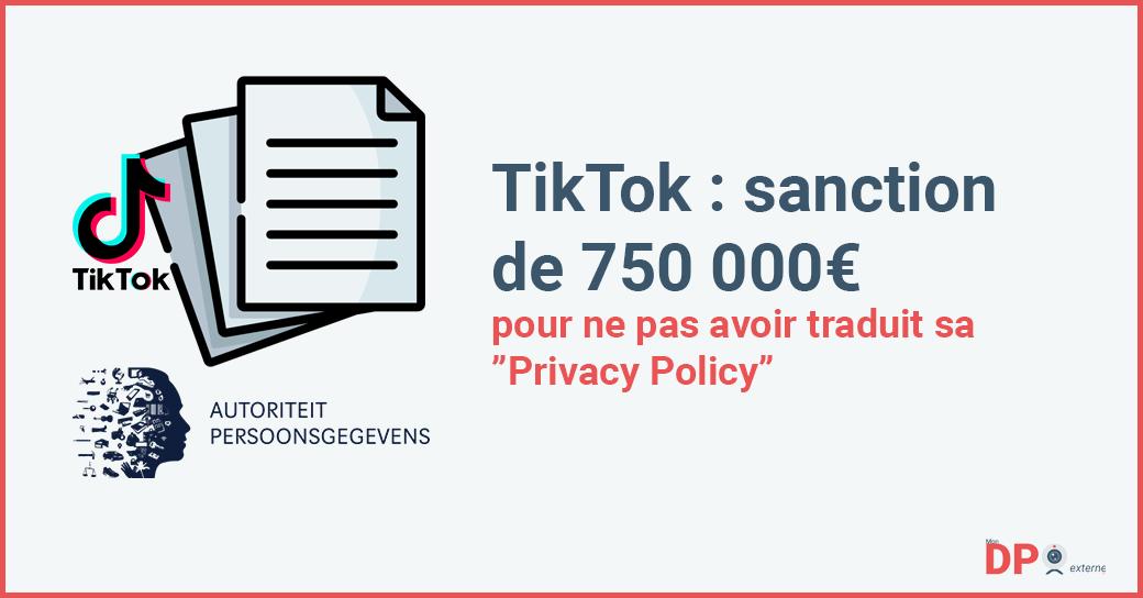 Amende de 750 000 euros à l'encontre de TikTok